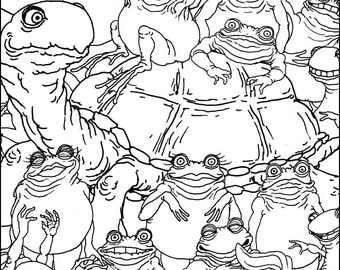 Frogs, Salamanders, and Turtle Coloring Page (8.5x11)
