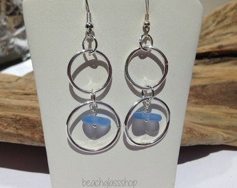 Sea Glass Earrings - Sterling Earrings - Blue Beach Glass - Lake Erie Jewelry - FREE Ship Inside United States