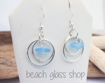 Sea Glass Earrings - Double Hoop Pierced Earrings - Lake Erie Beach Glass - FREE Shipping inside the United States