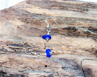 Sterling Sea Glass Earrings - RARE Cobalt Blue Earrings - Pierced Earrings - Lake Erie Beach Glass - FREE Shipping inside United States