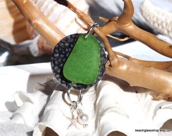 Sea Glass Pendant -  Lake Erie Beach Glass - Beach Jewelry