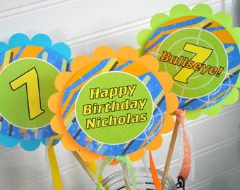 Boys Birthday Centerpiece Sticks, Blaster Gun Party, Laser Tag Birthday Party Centerpieces, Target Practice Birthday Decorations - Set of 3