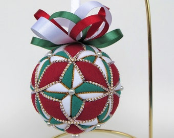 Christmas Ornament - Green and White 4 Pointed Stars on Dark Red Background with White and Gold Trim with Satin Bow
