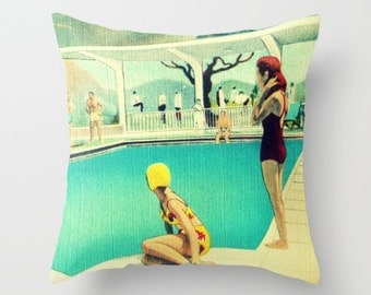 Mid Century Modern Pillow Cover, Decorative Pillow,  Wife Gifts for Her Pool Decor Water Ski Pillow, Mid Century Motels Red Aqua Retro Skier