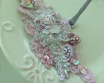 Sage/dusty pink lace beaded headband