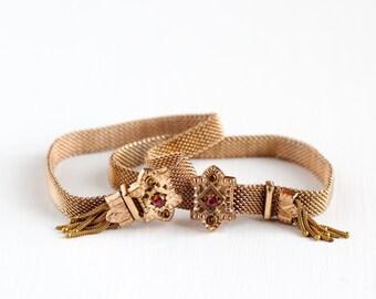 Sale - Antique Victorian Era Rose Gold Filled Mesh Slide Charm Bracelet - Vintage 1880s Red Gemstone Statement Adjustable Tassel Jewelry