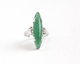 Vintage Sterling Silver Aventurine Quartz Ring - 1940s Size 7 1/4 Unique Navette Green Speckled Marquise Gemstone Uncas Statement Jewelry