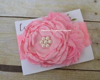 READY to SHIP Bubblegum Light Pink Singed Satin Flower Headband, OTT Headband, Photo Prop, 1st Birthday Headband, First Birthday, Smash Cake