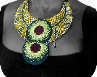 OOAK African neckwear,  Unique statement neck cuff, African wax Bib necklace, One of a Kind African Patchwork Collar,  B Modiste Handmade