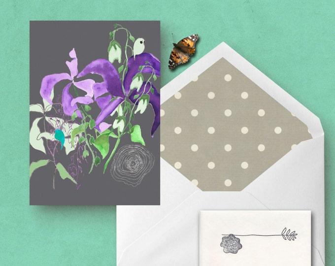 Woodland Iris Greeting Card