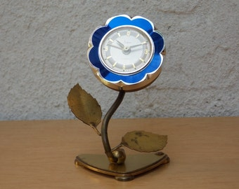 Sheffield Blue Enameled Flower Wind Up Alarm Clock