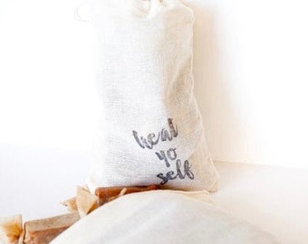 Treat Yo Self // 1/4 lb of Fleur de Sel Caramels in a Hand Stamped Muslin Bag // Perfect Birthday Gift