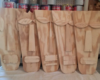 Large Tiki Man, Primitive Wall Hanging, Tiki Mask, Rustic Beach House, Wood Sculpture