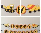 Orange and yellow Dump truck Happy Birthday Banner Ready to ship construction dump truck birthday party decorations