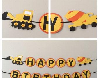 Orange and yellow Dump truck Happy Birthday Banner construction dump truck birthday party decorations