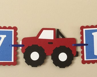 Small Blue and red Monster Truck Happy Birthday Banner  ready to ship monster truck
