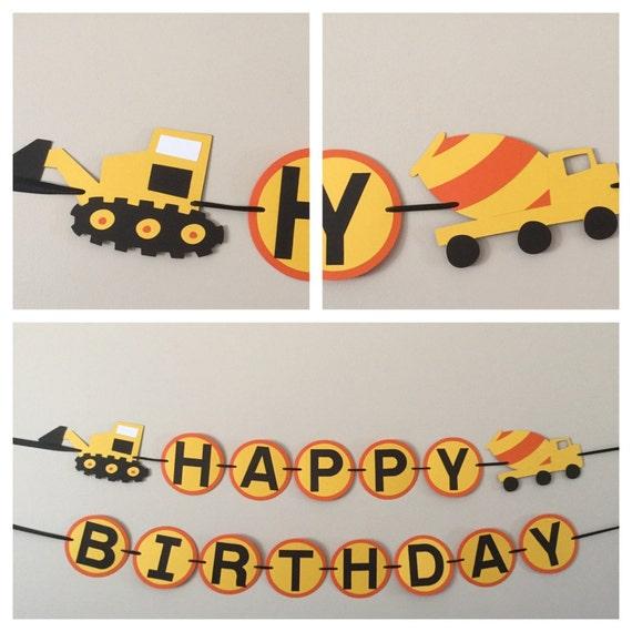 Orange And Yellow Dump Truck Happy Birthday Banner By