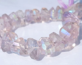 Mystic AB Pink Amethyst faceted Nuggets 8 Inches Strand-15 X 9 mm