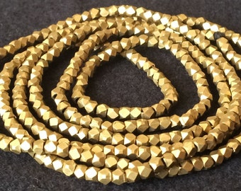 Brass Faceted bead strand -32 inches long -findings -necklace