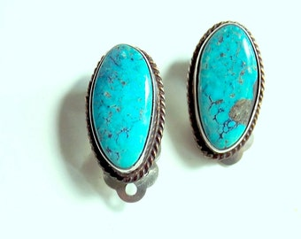 Vintage Hand Wrought Earrings with Turquoise Colored Stone