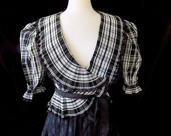 Vintage Blouse by Charles Glueck In Black & White Plaid with Crystal Pleats