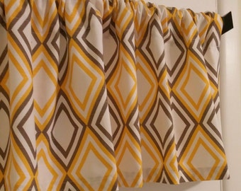 New CURTAIN Valance Premier Prints Annie Yellow and Brown