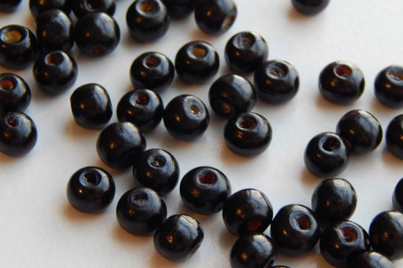 250 Pieces of Dyed Wood Jewelry Beads - 8mm Round, Black Color, Treated for Finish, Slight Size Variations, Lightweight, 2-3mm Hole Size