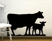Nursery Wall Decor Farm Animals - Baby Animal Wall Decal - Vinyl Wall decal Dairy Cow and Calf - Barnyard Animals Wall Stickers for Kids
