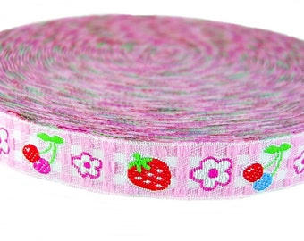 Gingham Strawberry Woven Plaid Checked Pink Ribbon Sewing Tape Embroidery Applique Trim 4 Yards