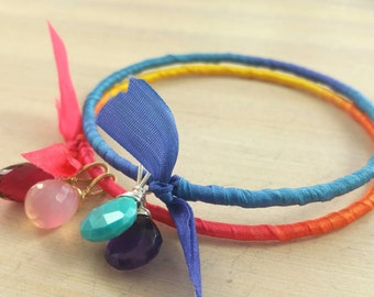 Blue & orange silk wrapped bangles with gemstone dangles. Stacking bangle duo. Summer. Tropical
