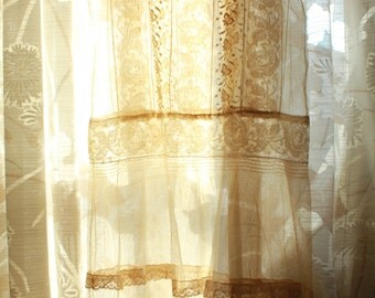 Antique Flapper All Lace Wedding Dress Normandy Lace Filet Lace French