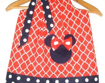Disney Minnie Mouse dress Red white blue  pillowcase dress Disney 3,6,9.12,18 months 2t,3t,4t,,5t,6,7,8,10,12
