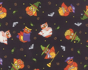 ON SALE Owls on Black Halloween Midnight Masquerade Moda Quilt Fabric by the 1/2 yard