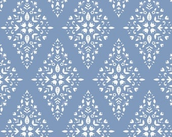 Periwinkle Floral Diamonds Ethereal Camelot Quilt Fabric by the 1/2 yard