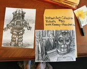 """Instant Art Gallery: Two Robot Drawings, Each drawing is 8.5""""x11"""" crayon on white paper, by Kenney Mencher"""