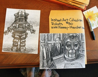 "Instant Art Gallery: Two Robot Drawings, Each drawing is 8.5""x11"" crayon on white paper, by Kenney Mencher"