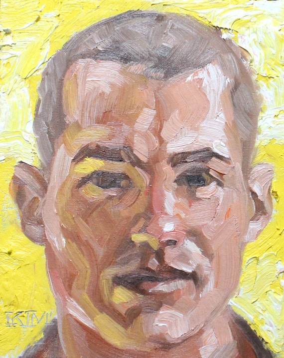 Clean Cut Hunk with a Shaved Head Against a Thick Yellow Impasto, oil on canvas panel 8x10 inches Kenney Mencher