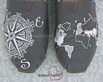 Travel Compass and World Map TOMS Shoes - Wanderlust Adventure - World Travel - Personalized Shoes - Hand Painted - Vacation Shoes
