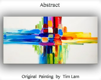 """Original oil Painting Wall Art Abstract Painting 48"""" Canvas  Wall Decor Original Modern Home Deco, Wall Hanging, Gathering Force by Tim Lam"""