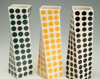 Ceramic Flower Vase, Tall Modern Pottery Vase, Polka Dot Twisted Vase, Yellow Orange Polka Dots Vase, Hand Painted Office Desk Accessories