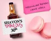 Custom Mini Bottle Labels Birthday Favors Adult Women Men 21 30 40 50th Birthday Celebration Thank You Happy Birthday Whiskey Gifts EB-1052