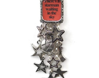 Will ship 20th August - Starman Ziggy Stardust David Bowie Charm Necklace - A Shower of Stars - silver plated - Limited Edition - Etsy UK
