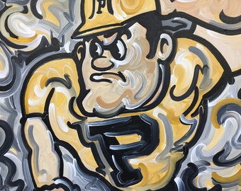 24x30 Officially Licensed Pudue University Painting Justin Patten Art College Football Basketball Purdue Pete Train
