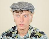 Vintage Men's Black White Fleck Wool Tweed Hat Cap - Size Medium to Large
