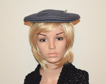 Vintage 30's 40's Blue Gray Pancake Fascinator Hat by J P Allen Co USA One Size