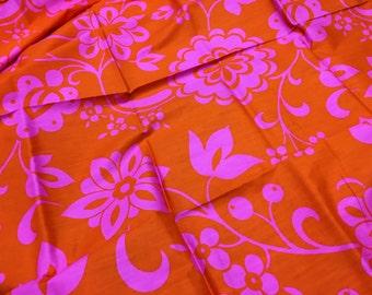 VHY Hawaiian Fabric Orange Hot Pink Vintage Yard Pristine