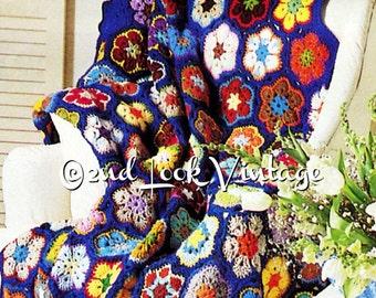 Vintage Crochet Pattern Flower Afghan Granny Squares Paperweight 1970s Digital Download