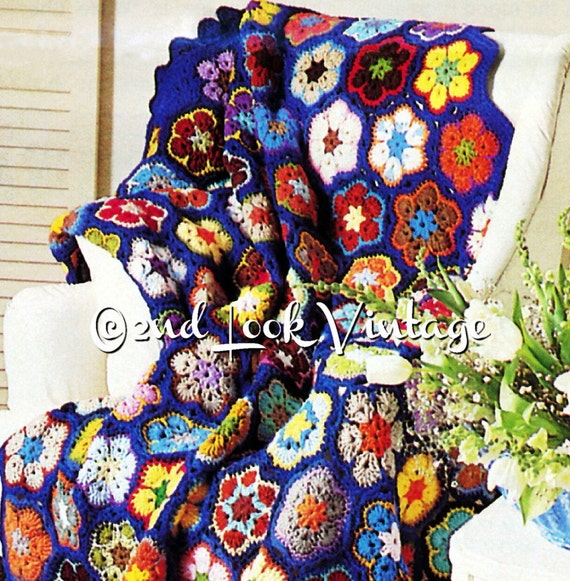 Vintage Crochet Pattern Flower Afghan Granny Squares Paperweight 1970s Digital Download