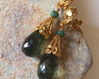 CASCADE EARRINGS 3 sterling gold chalcedony emerald dangle gem gemstone