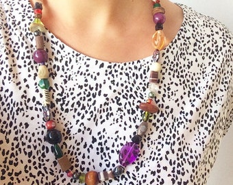 Recycled Bead Multi-color Long Necklace
